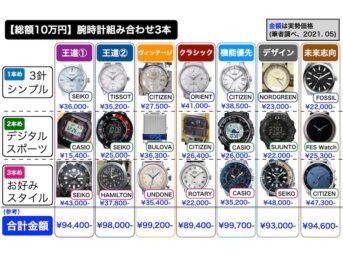 【総額10万円で揃える】腕時計3本の組合せ7選(第1版、2021.05)