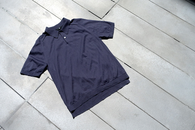 ユニクロ+Jのシルクコットンニットポロシャツ(グレー、外観)