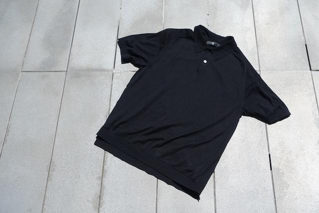 ユニクロ+Jのシルクコットンニットポロシャツ(黒、外観)