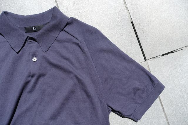 ユニクロ+Jのシルクコットンニットポロシャツ(グレー、袖部)