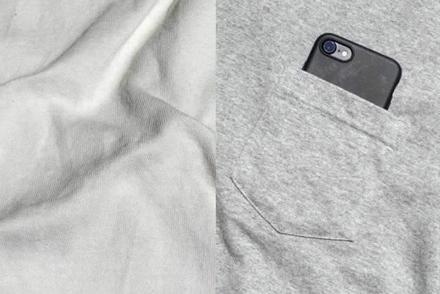 無印良品の太番手天竺編みポケット付Tシャツ(生地、ポケット)