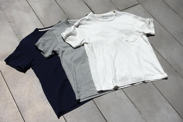 無印良品の太番手天竺編みポケット付Tシャツ(3色、外観)