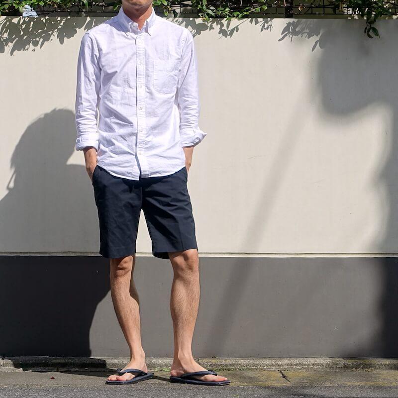 鎌倉シャツのカジュアル134のBDシャツ(着用時)