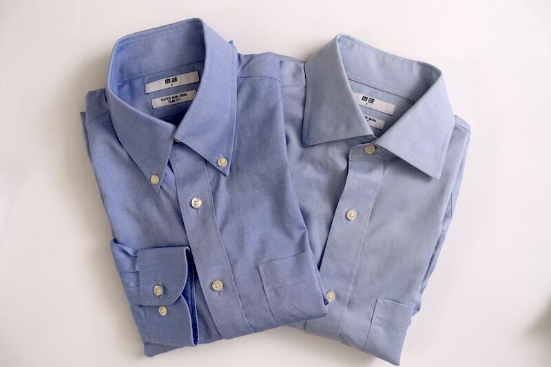 ユニクロのスーパーノンアイロンシャツ(ブルー、セミワイドとボタンダウン)